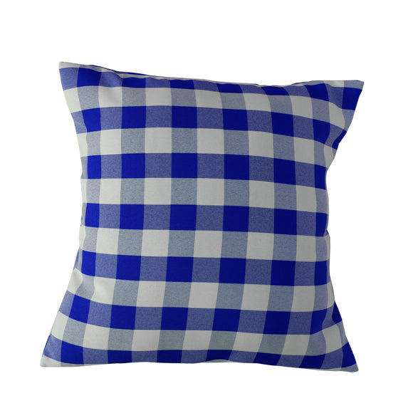 Gingham Checkered Decorative Throw Pillow/Sham Cushion Cover Royal Blue & White