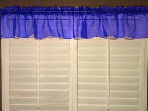 "Sheer Organza Window Valance 58"" Wide Solid Royal Blue"
