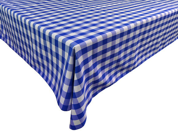 Poplin Gingham Checkered Plaid Tablecloth Royal Blue