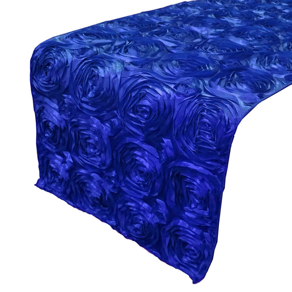 Satin Rosette Table Runner Raised Roses Royal Blue
