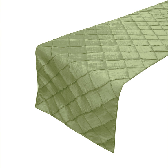 Pintuck Taffeta Table Runner Sage