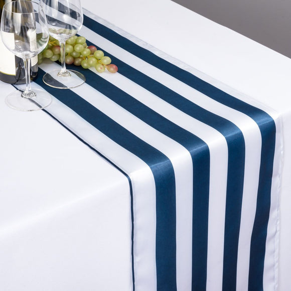 Satin Stripe Table Runner 1 Inch Wide Stripes Navy