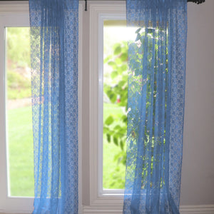 Floral Lace Window Curtain 58 Inch Wide Sea Blue