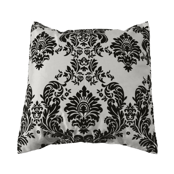 Flocked Damask Decorative Throw Pillow/Sham Cushion Cover Black on Silver