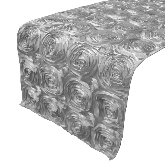 Satin Rosette Table Runner Raised Roses Silver