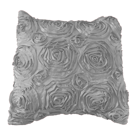 Satin Rosette Decorative Throw Pillow/Sham Cushion Cover Silver