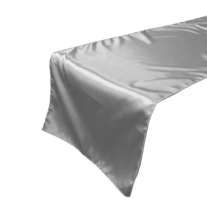 Shiny Satin Table Runner Solid Silver