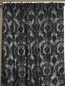 Flocking Damask Taffeta Window Curtain 56 Inch Wide Black on Silver