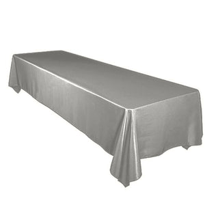 Shiny Satin Solid Tablecloth Silver