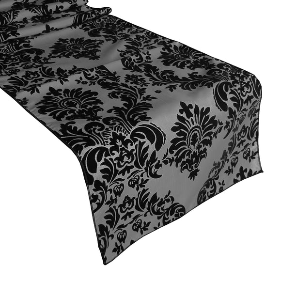Flocked Damask Table Runner Black on Silver