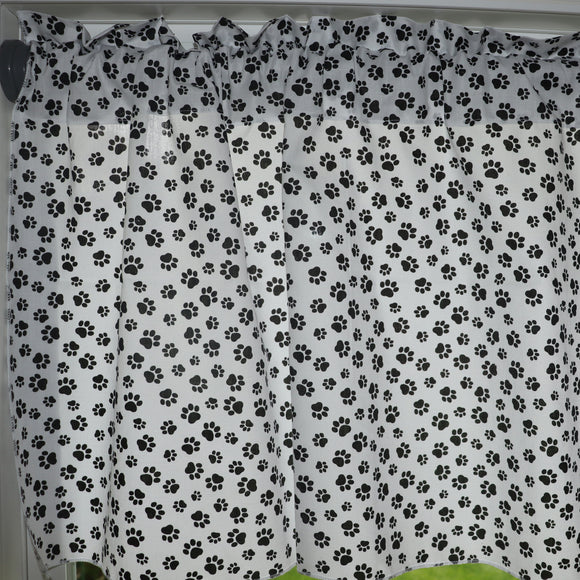 Cotton Paw Print Window Valance Tiny Black Paws on White 58