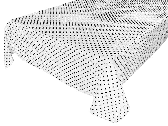 Cotton Polka Dots Tablecloth Small Black Dots on White