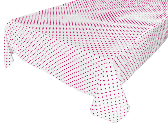 Cotton Polka Dots Tablecloth Small Fuchsia Dots on White