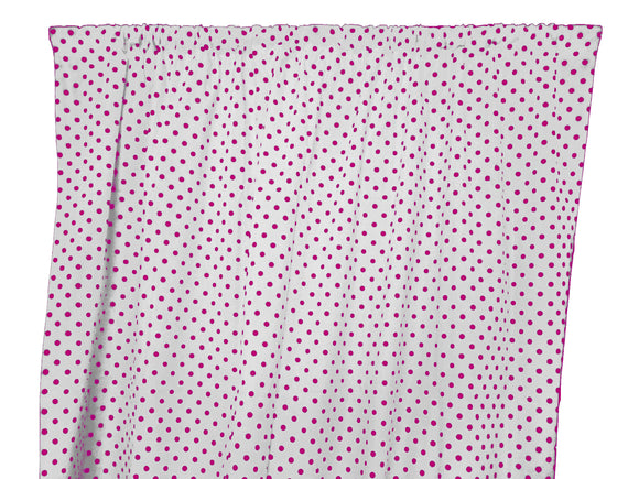 Cotton Polka Dots Window Curtain 58 Inch Wide Small Dots Fuchsia on White