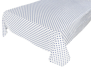 Cotton Polka Dots Tablecloth Small Navy Dots on White