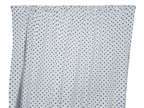 Cotton Polka Dots Window Curtain 58 Inch Wide Small Dots Navy on White