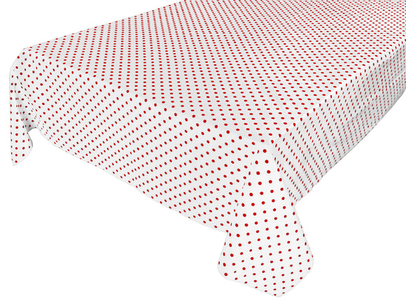 Cotton Polka Dots Tablecloth Small Red Dots on White