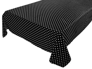 Cotton Polka Dots Tablecloth Small White Dots on Black