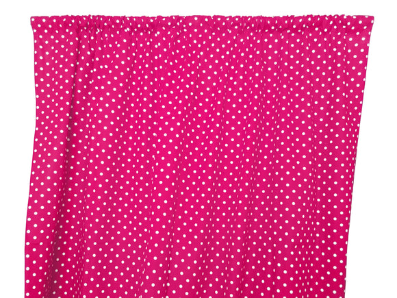 Cotton Polka Dots Window Curtain 58 Inch Wide Small Dots White on Fuchsia