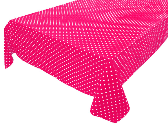 Cotton Polka Dots Tablecloth Small White Dots on Fuchsia