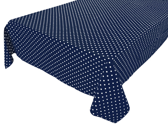 Cotton Polka Dots Tablecloth Small White Dots on Navy