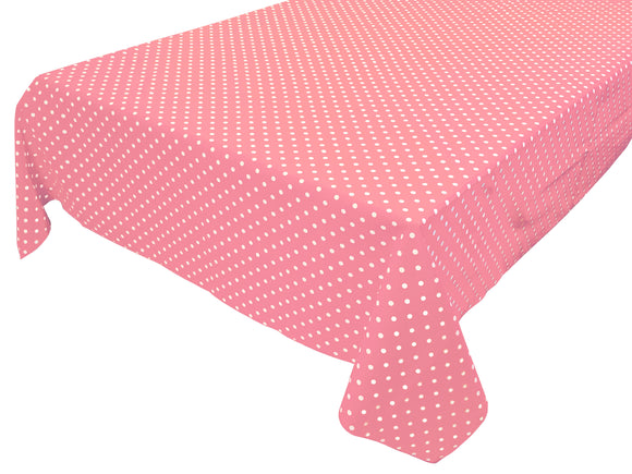 Cotton Polka Dots Tablecloth Small White Dots on Pink