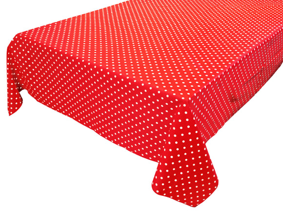 Cotton Polka Dots Tablecloth Small White Dots on Red