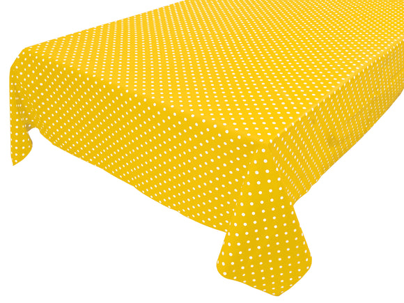 Cotton Polka Dots Tablecloth Small White Dots on Yellow