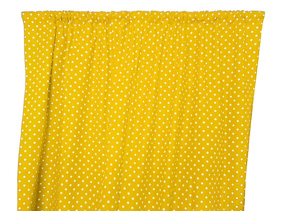 Cotton Polka Dots Window Curtain 58 Inch Wide Small Dots White on Yellow