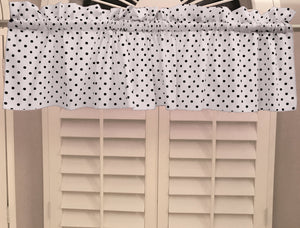 "Cotton Polka Dots Window Valance 58"" Wide Small Dots Black on White"
