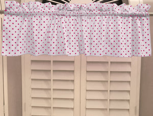 "Cotton Polka Dots Window Valance 58"" Wide Small Dots Fuchsia on White"
