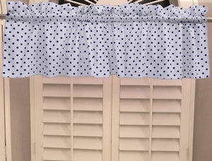 "Cotton Polka Dots Window Valance 58"" Wide Small Dots Navy on White"