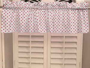 "Cotton Polka Dots Window Valance 58"" Wide Small Dots Red on White"