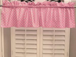 "Cotton Polka Dots Window Valance 58"" Wide Small Dots White on Pink"