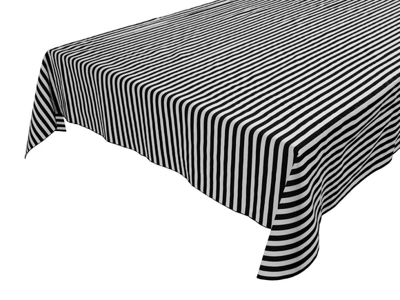 Cotton Stripe Tablecloth Half Inch Black and White