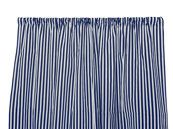Cotton Stripe Window Curtain 58 Inch Wide Half Inch Stripe Navy and White
