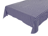 Cotton Stripe Tablecloth Half Inch Navy