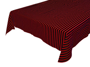 Cotton Stripe Tablecloth Half Inch Red and Black