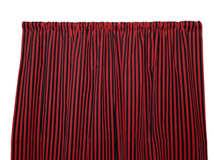 Cotton Stripe Window Curtain 58 Inch Wide Half Inch Stripe Red and Black