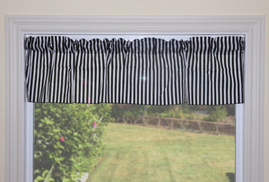 "Cotton Stripe Window Valance 58"" Wide 1/2 Inch Stripe Black and White"