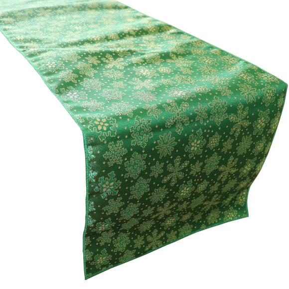 Brocade Table Runner Christmas Holiday Collection Glittery Snowflake Green