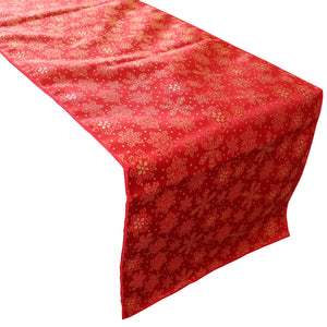 Brocade Table Runner Christmas Holiday Collection Glittery Snowflake Red