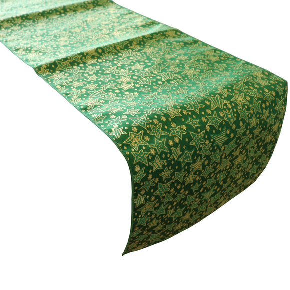 Brocade Table Runner Christmas Holiday Collection Glittery Stars Green