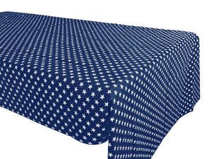 Cotton Stars Tablecloth Navy Blue
