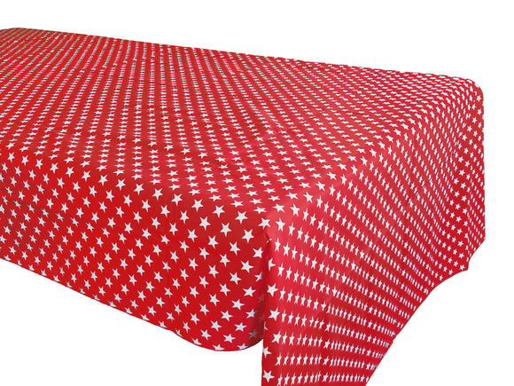 Cotton Stars Tablecloth Red
