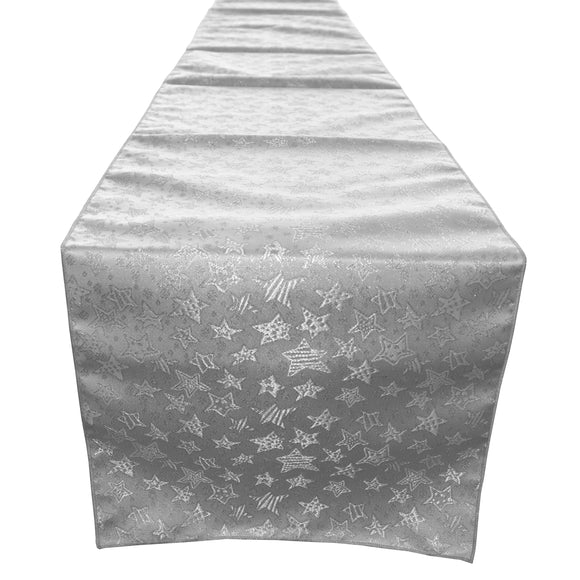 Brocade Table Runner Christmas Holiday Collection Glittery Stars Silver