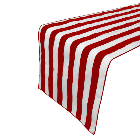 Cotton Print Table Runner 1 Inch Wide Stripes Red and White
