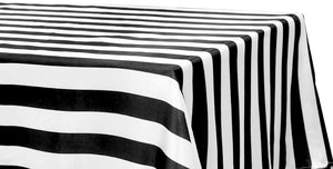 Satin Stripe Tablecloth 2 Inch Black and White