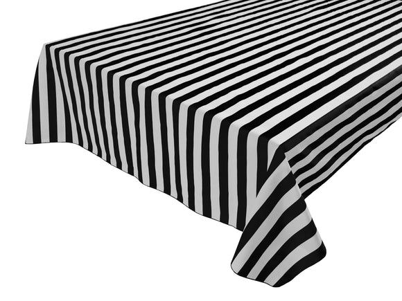 Cotton Stripe Tablecloth 1 Inch Black and White