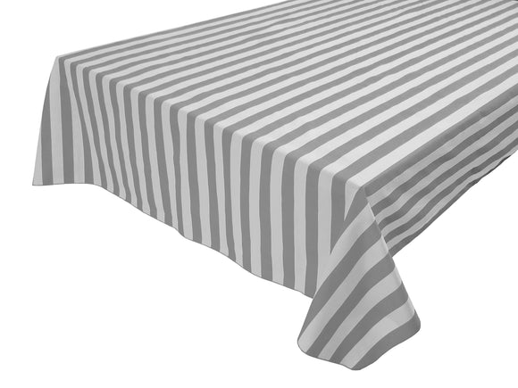 Cotton Stripe Tablecloth 1 Inch Grey